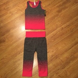 Other - Hot pink gray and black knee-high workout set